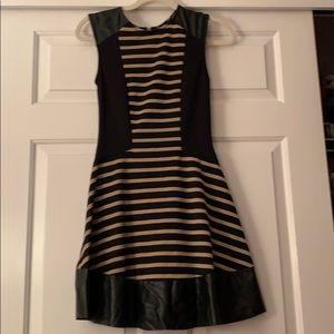 Dresses & Skirts - Stripe dress with faux leather